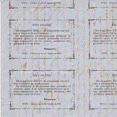 Lotería Nacional: HOJA 21X15. CON BOLETOS DE UNA RIFA GRATIS. UTILIZANDO EL SORTEO DE JULIO DE 1858 DE - . Lote 31824960