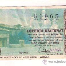 Lotería Nacional: DÉCIMO. 5 DE ENERO DE 1965. NÚMERO SORTEO 1. ADMÓN 32. BARCELONA.. Lote 135016470