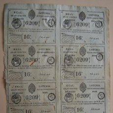 Lotería Nacional: AÑO 1841 * FOLIO CON 8 BILLETES * LOTERIA COLONIAL ESPAÑOLA EN CUBA. Lote 32174687