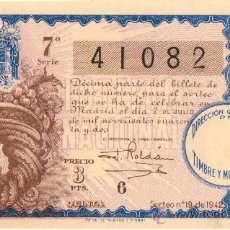 Lotería Nacional: 1942. LOTERIA NACIONAL. SORTEO 19. EXCELENTE ESTADO. Lote 32228385