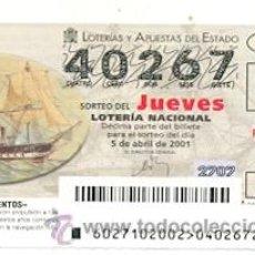 Lotería Nacional: 10-01-27. LOTERIA NACIONAL DEL JUEVES, SORTEO Nº 27 DE 2001. Lote 32229531