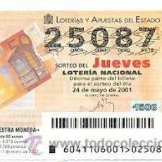 Lotería Nacional: 10-01-41. LOTERIA NACIONAL DEL JUEVES, SORTEO Nº 43 DE 2001. Lote 32229692