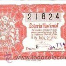 Lotería Nacional: LOTERIA NACIONAL. 1953. DÉCIMO SORTEO Nº 20 EXCELENTE ESTADO DE CONSERVACIÓN. Lote 32249734