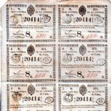 Lotería Nacional: 8 DÉCIMOS DE LOTERÍA NACIONAL, CUBA, 1842. Lote 32251511