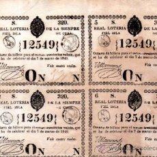 Lotería Nacional: LOTERIA NACIONAL DE 1840, CUBA. Lote 32252113