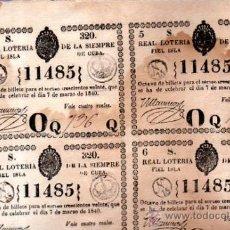 Lotería Nacional: LOTERIA NACIONAL DE 1840, CUBA. Lote 32252126