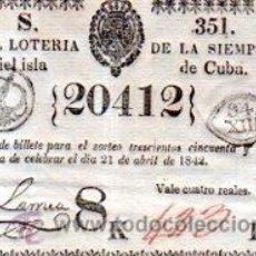 Lotería Nacional: LOTERIA NACIONAL DE CUBA. 21 DE ABRIL DE 1842. Lote 32260054