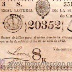 Lotería Nacional: LOTERIA NACIONAL DE CUBA. 21 DE ABRIL DE 1842. Lote 32260244