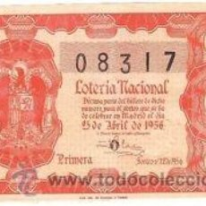Lotería Nacional: LOTERIA NACIONAL. 1956. DÉCIMO SORTEO Nº 12 EXCELENTE ESTADO DE CONSERVACIÓN. Lote 32262079