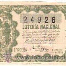 Lotería Nacional: LOTERIA NACIONAL. 1956. DÉCIMO SORTEO Nº 14 EXCELENTE ESTADO DE CONSERVACIÓN. Lote 32262149