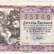 Lotería Nacional: LOTERIA NACIONAL 1958 DÉCIMO SORTEO Nº 1. . Lote 32272190