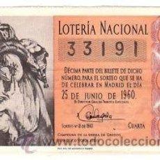Lotería Nacional: LOTERIA NACIONAL 1960 DÉCIMO SORTEO Nº 18. . Lote 32296265