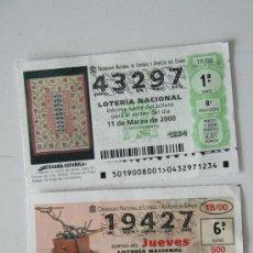 Lotería Nacional: LOTE 2 PAPELETA LOTERIA NACIONAL 2000 ARTESANIA INVENTOS..O SUELTOS. Lote 32372635