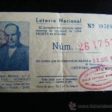 Lotería Nacional: BILLETE LOTERIA NACIONAL Nº 005680 DEL Nº 26175. CRISTOBAL MARIN NAVARRO. HOSPITALET. 22/12/1961.. Lote 32417194