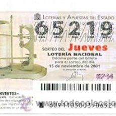 Lotería Nacional: 10-01-91. LOTERIA NACIONAL DEL JUEVES, SORTEO Nº 91 DE 2001. TERMOHIDROGRAFO. Lote 93750350