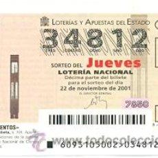 Lotería Nacional: 10-01-93. DECIMO LOTERIA NACIONAL DEL JUEVES, SORTEO Nº 93 DE 2001, BARÓMETRO DE CUBETA. Lote 93750559