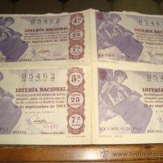 Lotería Nacional: 4 DECIMOS LOTERIA NACIONAL DEL 15 DE SEPTIEMBRE DE 1964 NUMERO 05462. Lote 32593420