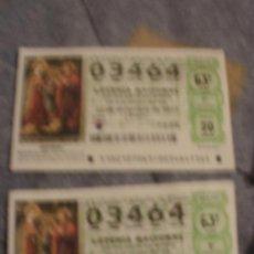 Lotería Nacional: LOTE DECIMOS LOTERIA NAVIDAD 2011 2 DECIMOS NUMERO 03464. Lote 34481836