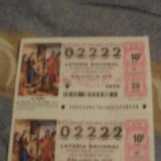 Lotería Nacional: LOTE DECIMOS LOTERIA NAVIDAD 2011 2 DECIMOS NUMERO CURIOSO 02222. Lote 32772664