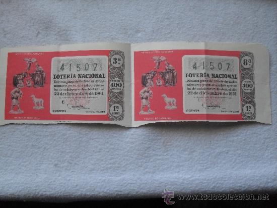 LOTE 2 DECIMOS LOTERIA NAVIDAD 22-12-1961 (Coleccionismo - Lotería Nacional)