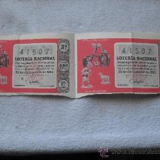 Lotería Nacional: LOTE 2 DECIMOS LOTERIA NAVIDAD 22-12-1961. Lote 32769899
