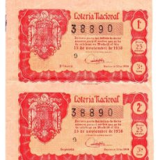 Lotería Nacional: DÉCIMOS DE LOTERIA NACIONAL 38890, 15 DE NOVIEMBRE DE 1958.. Lote 32865484