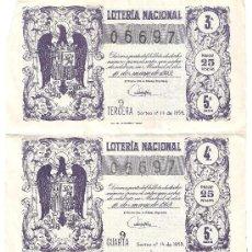 Lotería Nacional: DÉCIMOS DE LOTERIA NACIONAL 06697,16 DE MAYO DE 1959.. Lote 32865626
