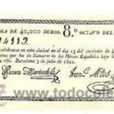 """Lotteria Nationale Spagnola: 1822.BARCELONA.""""RIFA FORZOSA DE 40.000 DUROS. 8º OCTAVO DEL BILLETE DEL Nº..."""" 16ª APAISADO. UNA CA. Lote 32921545"""