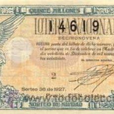 Lotería Nacional: 1927. LOTERIA NACIONAL. SORTEO 36. EXCELENTE ESTADO CONSERVACIÓN. Lote 32921910