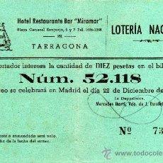 Lotería Nacional: PARTICIPACIÓN LOTERIA NACIONAL 22 DE DICIEMBRE DE 1954, HOTEL RESTAURANTE BAR