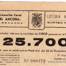 Lotería Nacional: PARTICIPACIÓN LOTERIA NACIONAL 22 DE DIC. DE 1954, AGRUPACIÓN CORAL