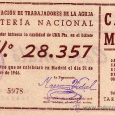 Lotería Nacional: PARTICIPACIÓN LOTERIA NACIONAL 21 DE DIC. DE 1946, AS. TRABAJADORES DE LA AJUGA, CASA MALÉ TARRAGONA. Lote 33108910