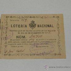 Lotería Nacional: (M-ALB2) LOTERIA NACIONAL 23 DE DICIEMBRE 1903., SEÑALES DE USO. Lote 33305691