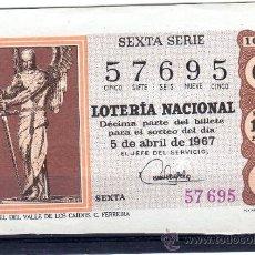 Lotería Nacional: DECIMO DE LOTERIA SORTEO 10 DE 1967, VER FOTO. Lote 33326490