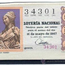 Lotería Nacional: DECIMO DE LOTERIA SORTEO 14 DE 1967, VER FOTO. Lote 33326503
