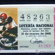 Lotería Nacional: DECIMO DE LOTERIA SORTEO 8 DE 1968, VER FOTO. Lote 33326654