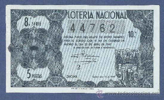 DECIMO LOTERIA NACIONAL AÑO 1949 SORTEO N. 12 (Coleccionismo - Lotería Nacional)