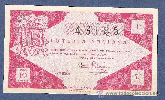 DECIMO LOTERIA NACIONAL AÑO 1949 SORTEO N. 5 (Coleccionismo - Lotería Nacional)