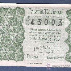 Lotería Nacional: DECIMO LOTERIA NACIONAL AÑO 1955 SORTEO N. 22. Lote 33235892