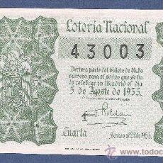 Lotería Nacional: DECIMO LOTERIA NACIONAL AÑO 1955 SORTEO N. 22. Lote 33235899