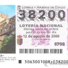 Lotería Nacional: 1 DECIMO LOTERIA DEL SABADO - 12 AGOSTO 2000 - 63/00 - CASTILLO DE COCA ( SEGOVIA ). Lote 33511640
