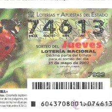 Lotería Nacional: 1 DECIMO DE LOTERIA DEL JUEVES - 31 MAYO 2007 - 43/07 - FAUNA ( MARIQUITA DE SIETE PUNTOS ) . Lote 61822563