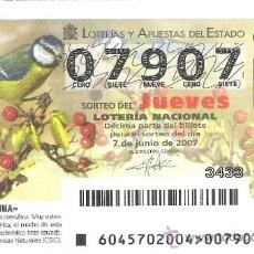 Lotería Nacional: 1 DECIMO DE LOTERIA DEL JUEVES - 7 JUNIO 2007 - 45/07 - FAUNA - AVES ( HERRERILLO COMUN ). Lote 34470143
