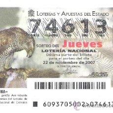 Lotería Nacional: 1 DECIMO LOTERIA DEL JUEVES - 22 NOVIEMBRE 2007 - 93/07 - FAUNA - AVES ( AZOR COMUN ). Lote 34470381