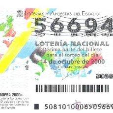 Lotería Nacional: 1 DECIMO LOTERIA DEL SABADO - 14 OCTUBRE 2000 - 81/00 - LOTERIA EUROPEA 2000. Lote 33660573