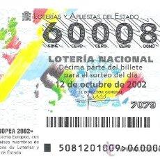 Lotería Nacional: 1 DECIMO LOTERIA DEL SABADO - 12 OCTUBRE 2002 - 81/02 - LOTERIA EUROPEA 2002. Lote 33660640