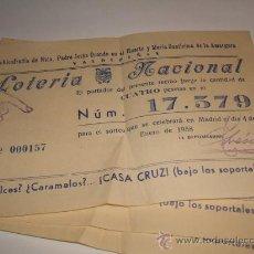 Lotería Nacional: VALDEPEÑAS CIUDAD REAL 3 PARTICIPACIONES LOTERIA SORTEO DEL NIÑO 1958 PUBLICIDAD CARAMELOS CASA CRUZ. Lote 33725450