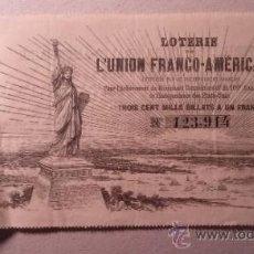 Lotería Nacional: EXCEPCIONAL BILLETE DE LOTERIA PARA LA CONSTRUCCION DE LA ESTATUA DE LA LIBERTAD 1879. Lote 33834039