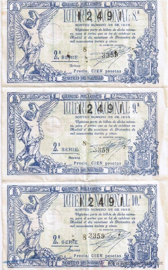 HOJA DE TRES BILLETES DE LOTERIA NACIONAL DE NAVIDAD 1935 - SORTEO Nº 36 (Coleccionismo - Lotería Nacional)