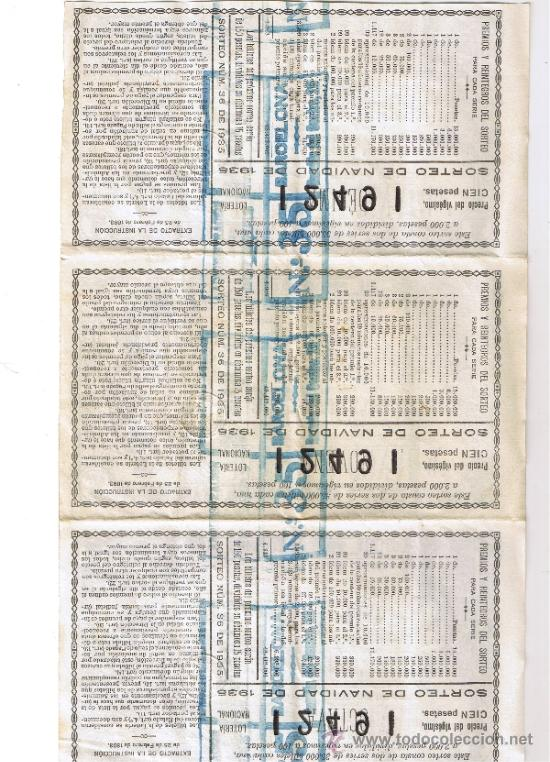 Lotería Nacional: HOJA DE TRES BILLETES DE LOTERIA NACIONAL DE NAVIDAD 1935 - SORTEO Nº 36 - Foto 2 - 34007169